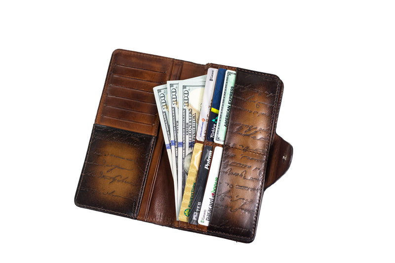 Bosphorus Leather Scripto Patina Light Tan - XL Wallet