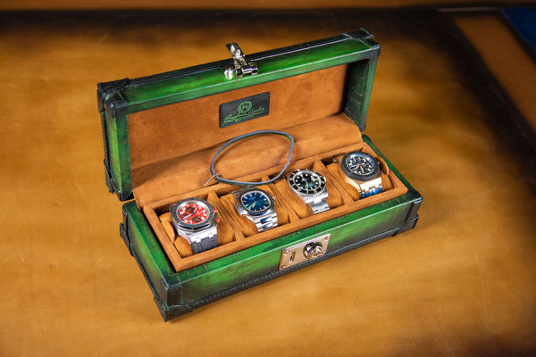 Petra Watch Case for Four Watches - Scripto Patina Green
