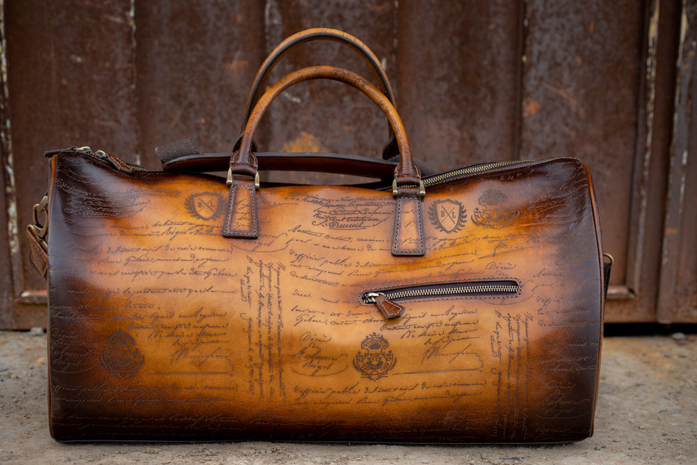 Leather Duffle Bag Scripto Honey Brown