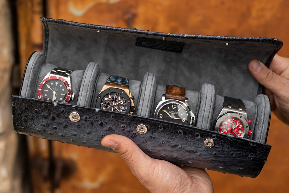 Galata Ostrich Watch Roll for Four Watches