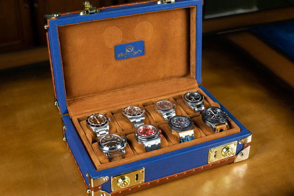Petra Watch Case for Eight Watches - Saffiano Navy Blue
