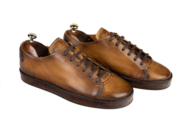 Bosphorus Leather Marrakech Sneakers - Patina Sole Honey Brown