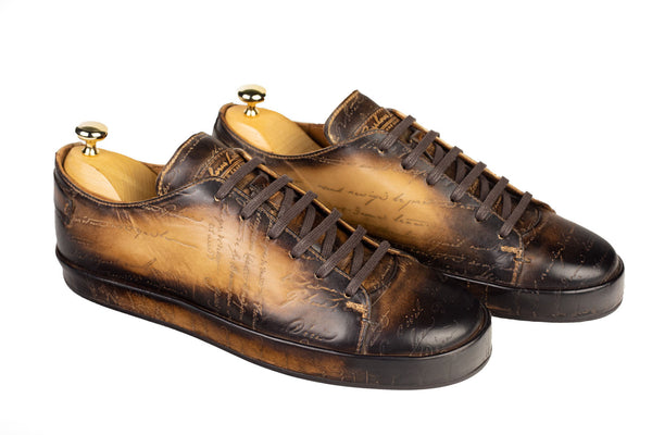 Bosphorus Leather Marrakech Sneakers - Scripto Patina Camel