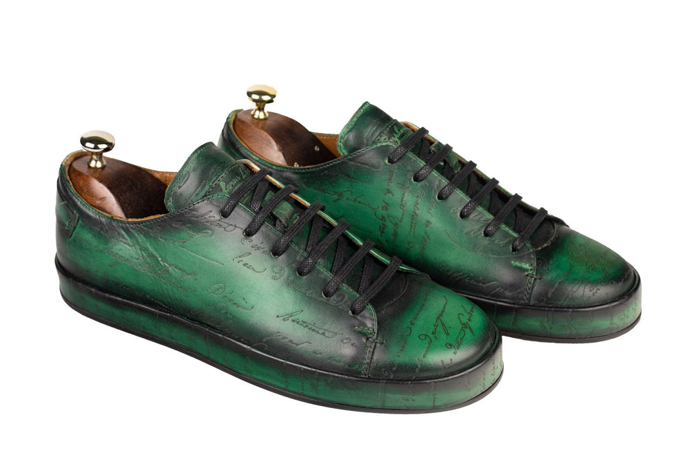 Leather Marrakech Sneaker Scripto Patina Green