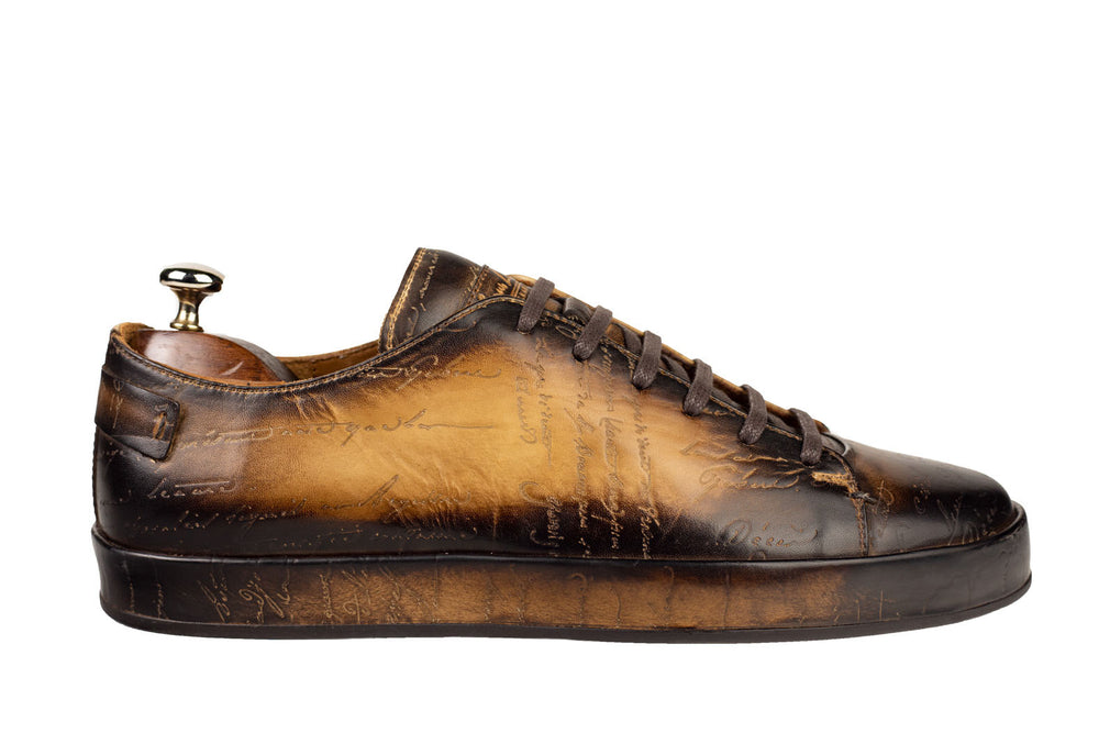 Leather Marrakech Sneaker Scripto Patina Camel