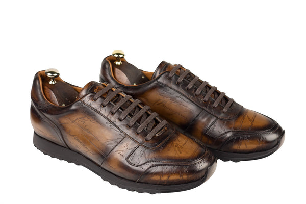 Bosphorus Leather Minorka Sneakers - Patina Scripto Brown