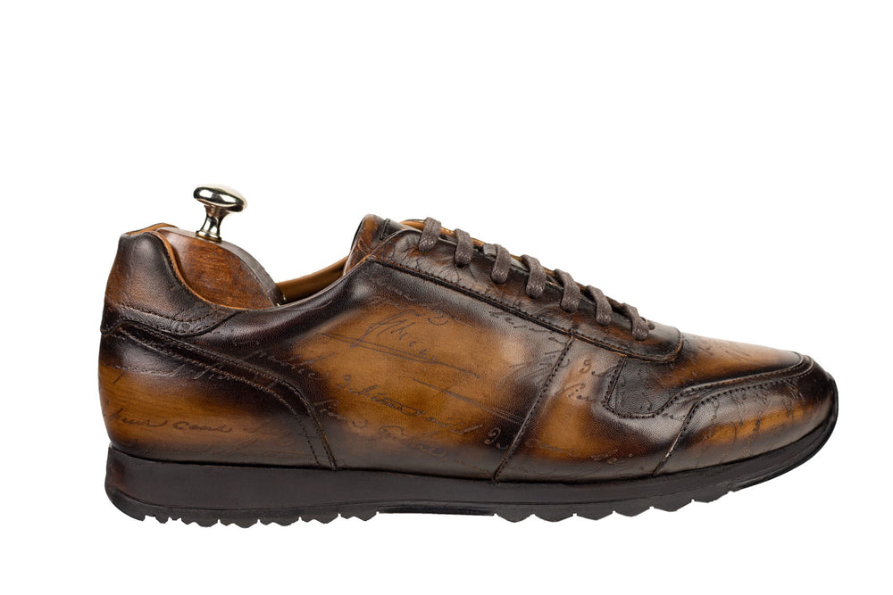 Bosphorus Leather Minorka Sneaker - Patina Scripto Brown