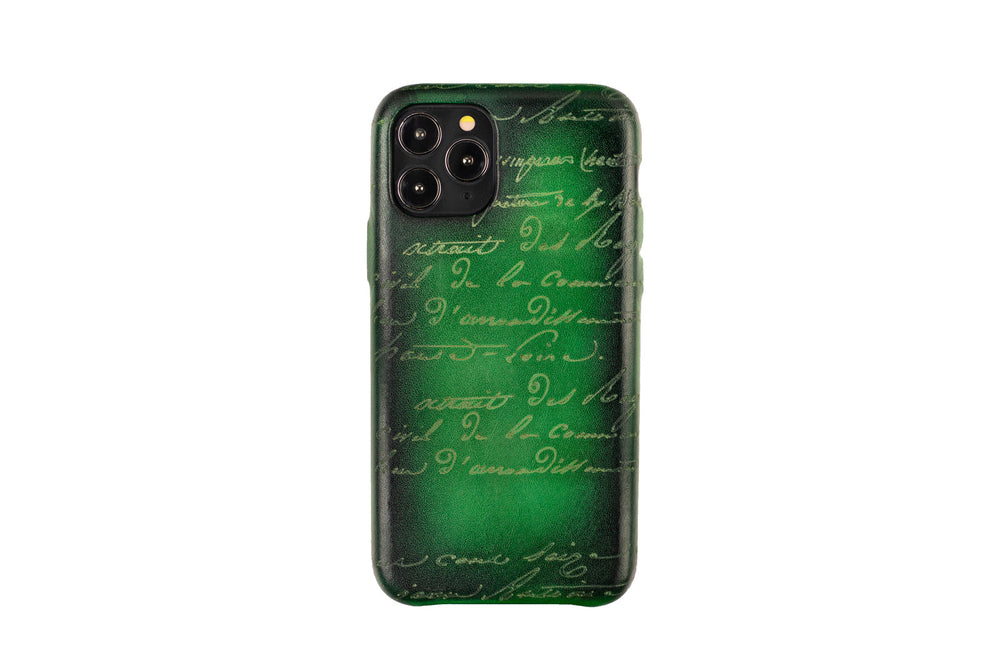 Bosphorus Leather Patina Green Iphone Case for 11 , 11 Pro and 11 Pro Max