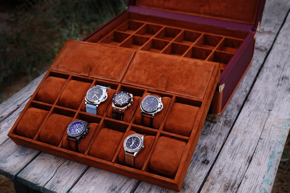 Watch Trunk - Saffiano Burgundy for 30 Watches