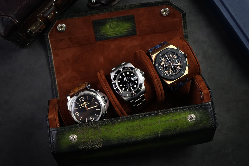Hexagon Watch Roll - Scripto Patina Green for Three Watches