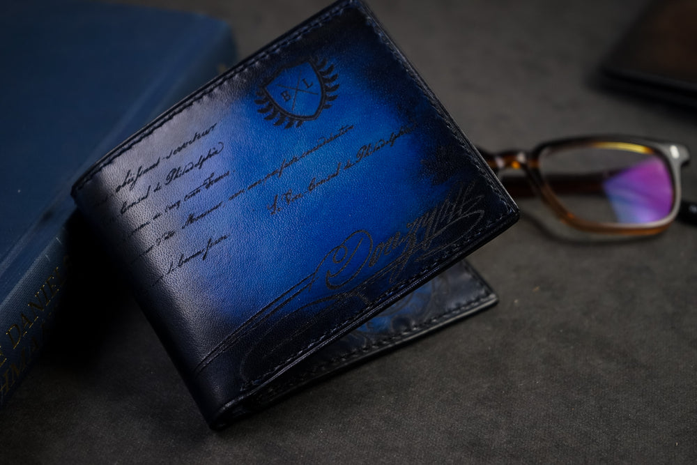 Bosphorus Leather Scripto Patina Blue Wallet Medium