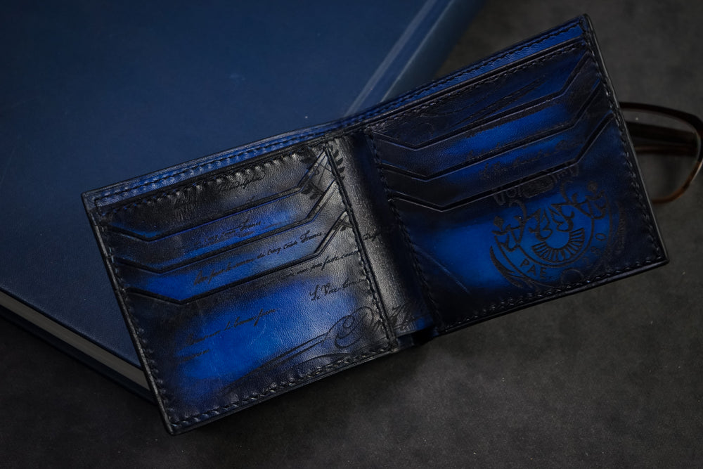 Leather Scripto Patina Blue Wallet Medium