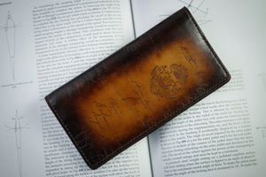 Bosphorus Leather Scripto Patina Light Tan Long Wallet