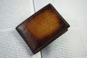 Bosphorus Leather Scripto Patina Light Tan Wallet Small