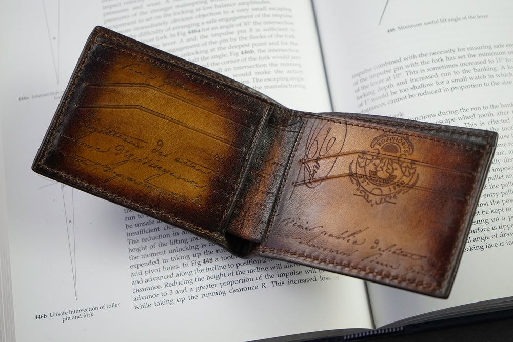 Leather Scripto Patina Light Tan Wallet Small