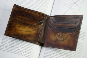 Bosphorus Leather Scripto Patina Golden Tan Wallet Medium