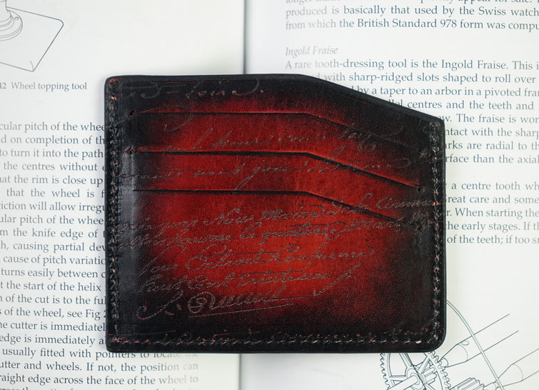 Leather Scripto Patina Red Card Holder