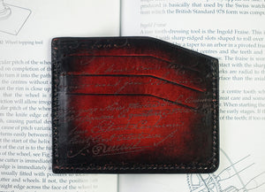 Bosphorus Leather Scripto Patina Red Card Holder