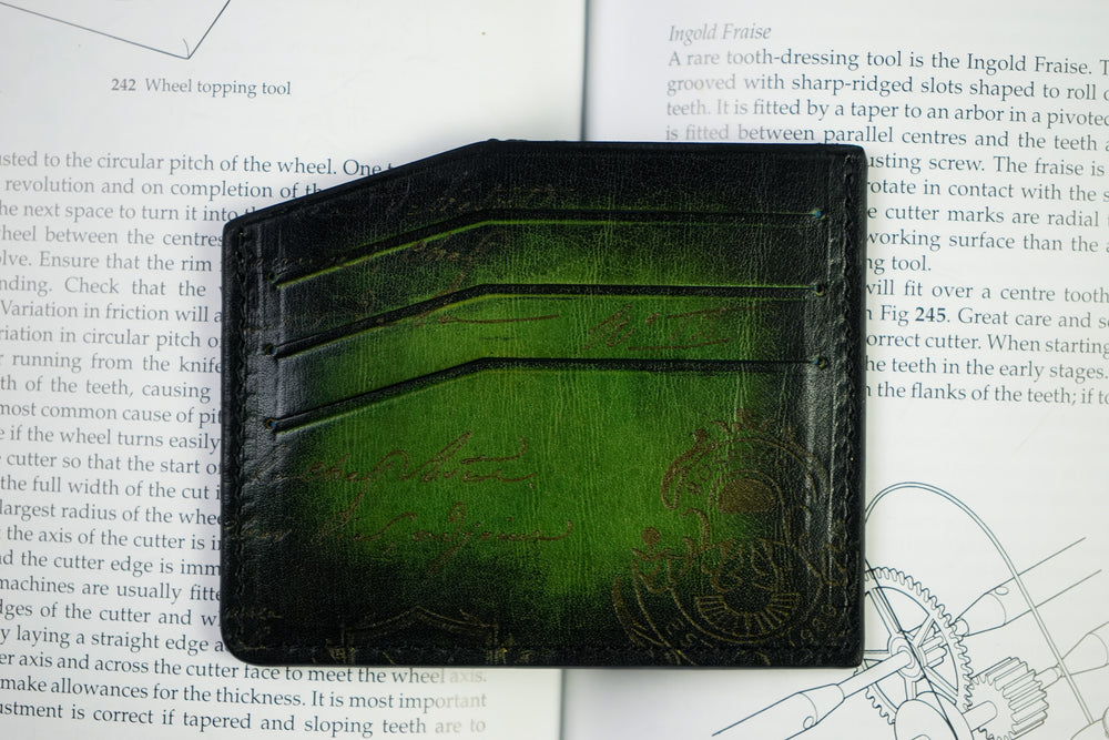 Leather Scripto Patina Green Card Holder