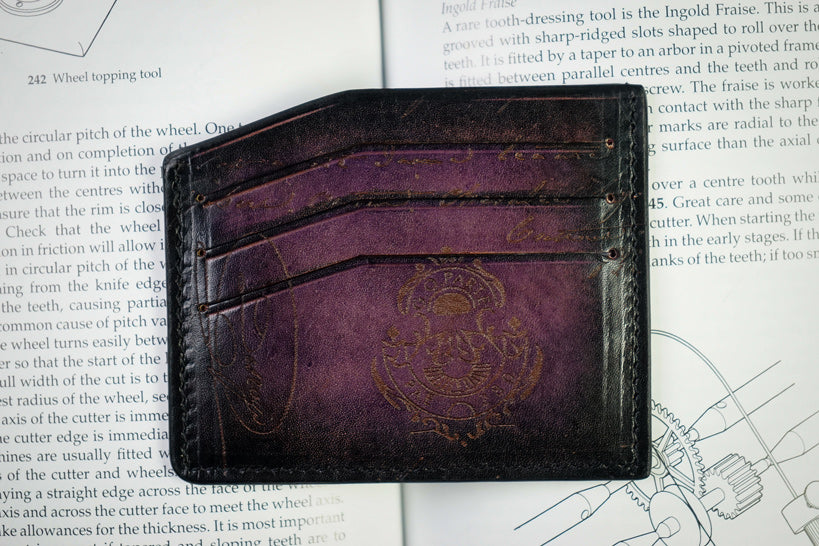 Leather Scripto Patina Purple Card Holder