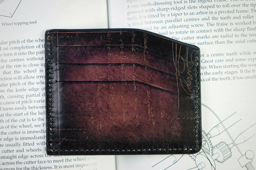 Bosphorus Leather Scripto Patina Purple Card Holder