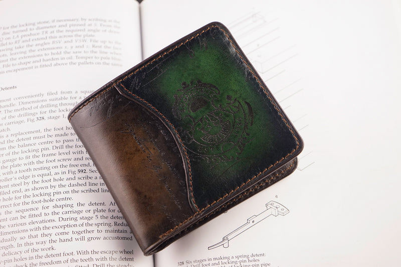 Leather Patina Green-Dark Brown Wallet (2614688153685)