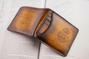 Bosphorus Leather Patina Light Tan Wallet with Removable Card Holder