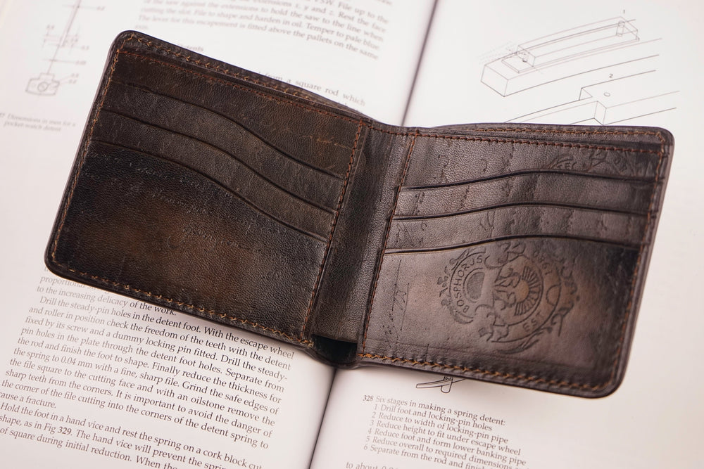 Leather Patina Green-Dark Brown Wallet