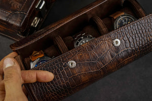 Galata Watch Roll - CP Patina Brown for Three Watches