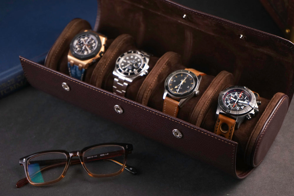 Galata Watch Roll - Saffiano Dark Brown for Four Watches