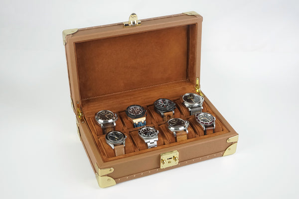 Petra Watch Case for Eight Watches - Saffiano Camel