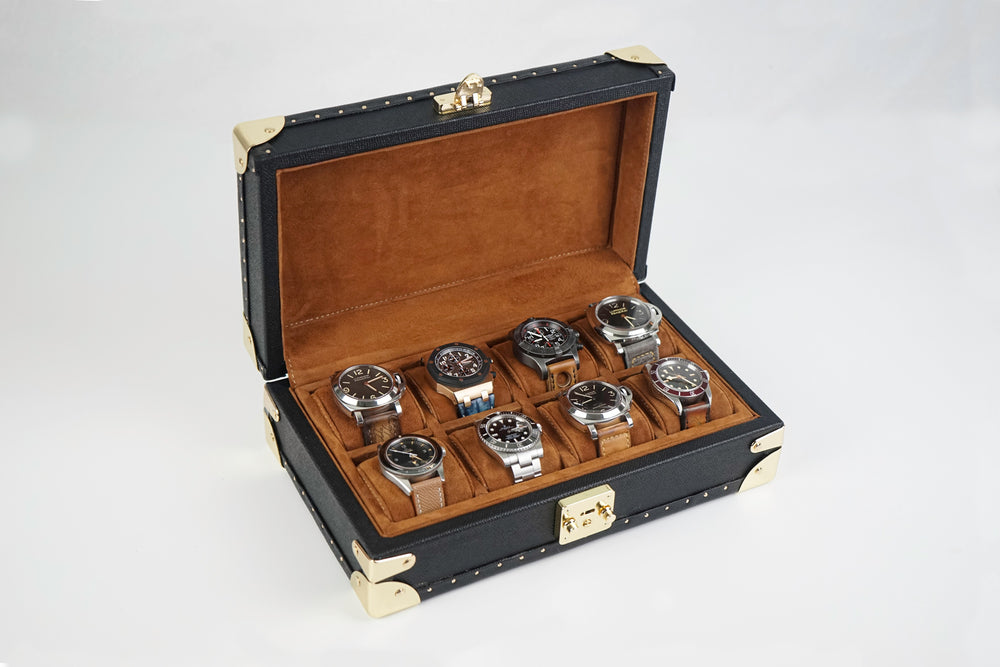 Petra Watch Case for 8 Watches - Saffiano Black