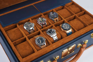 Watch Trunk - Saffiano Navy Blue for 30 Watches