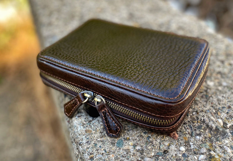 Natural Leather Bitter Brown Zipper Watch Case for Four Watches