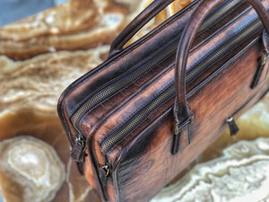 Briefcase Scripto Patina Java Brown - Double Zipper