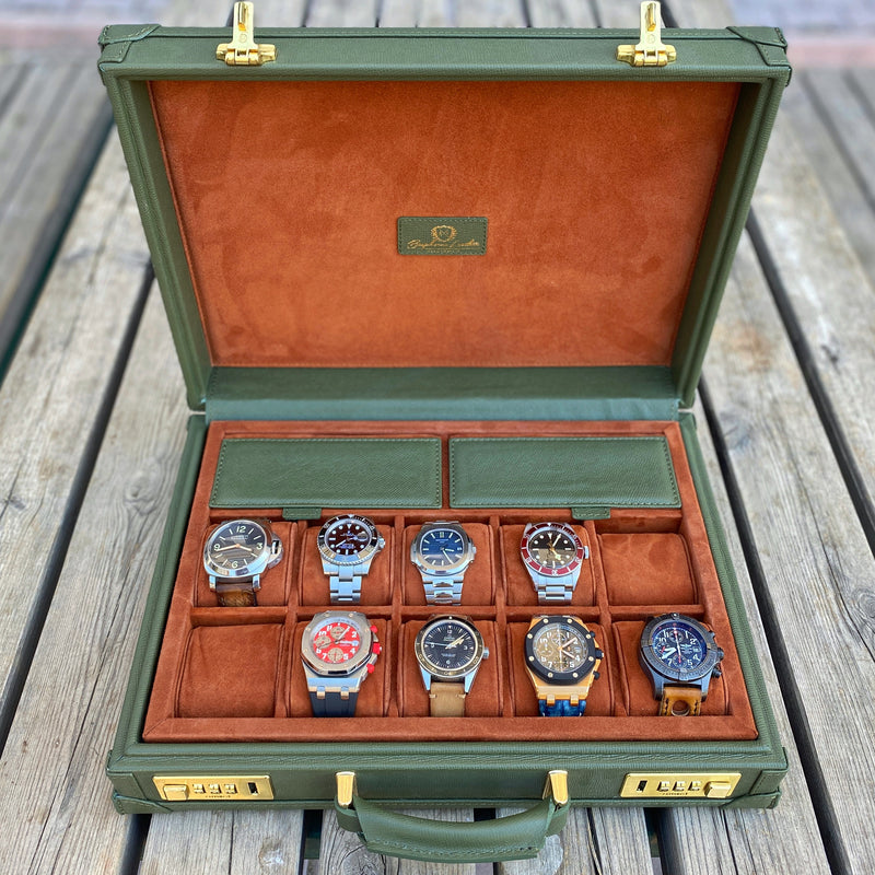 Watch Collector Case Combination Lock - Saffiano Olive Green for 10 or 15 Watches