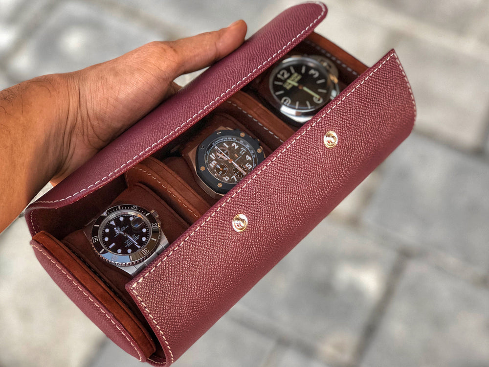 Galata Watch Roll - Saffiano Burgundy for Three Watches