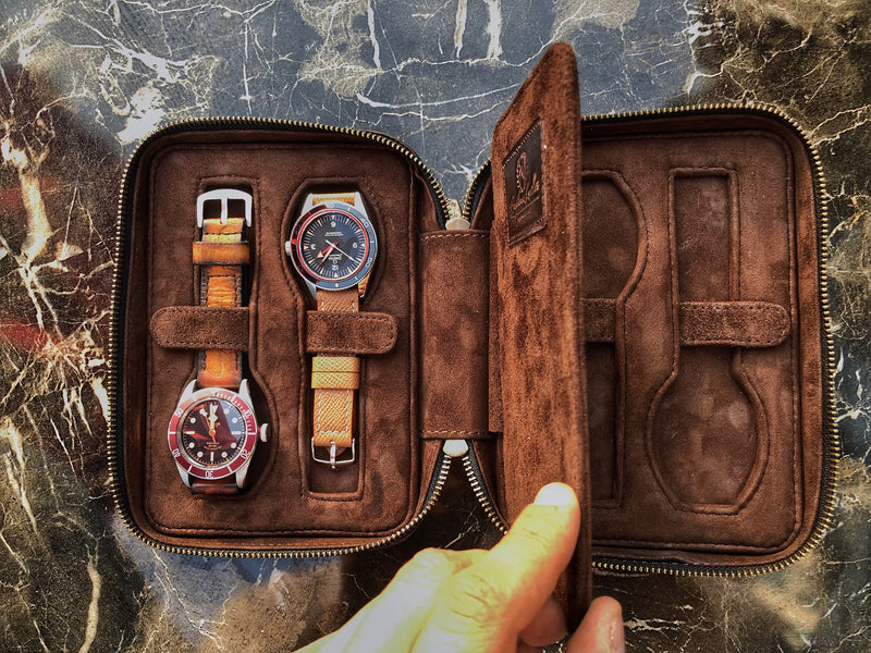 Patina Dark Brown Zipper Watch Case for Four Watches