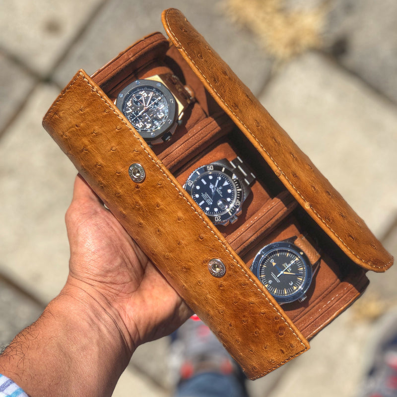 Galata Ostrich Patina Honey Brown Watch Roll