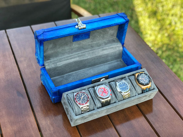 Petra Watch Case for Four Watches - Ostrich Jean Blue