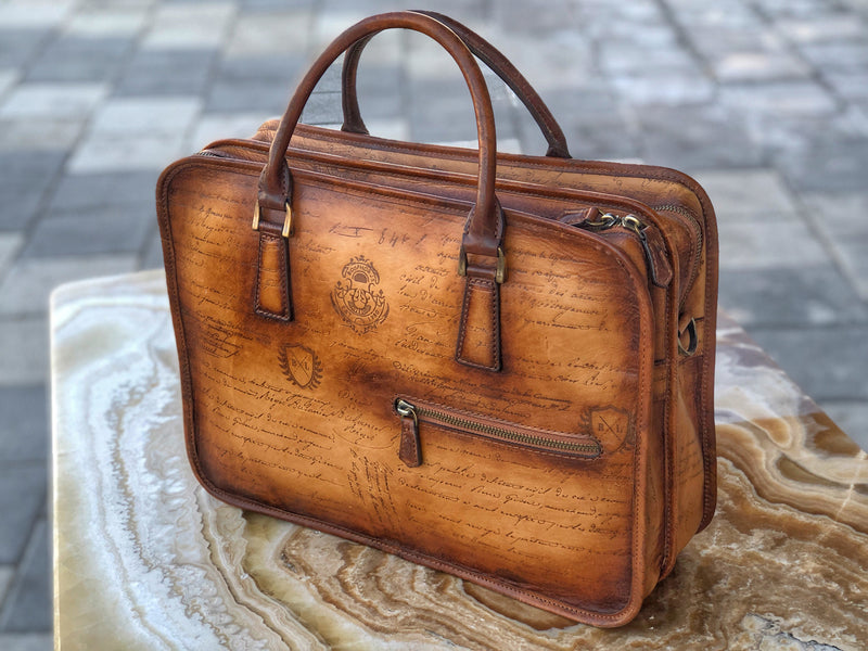 Briefcase Scripto Patina Honey Brown - Double Zipper