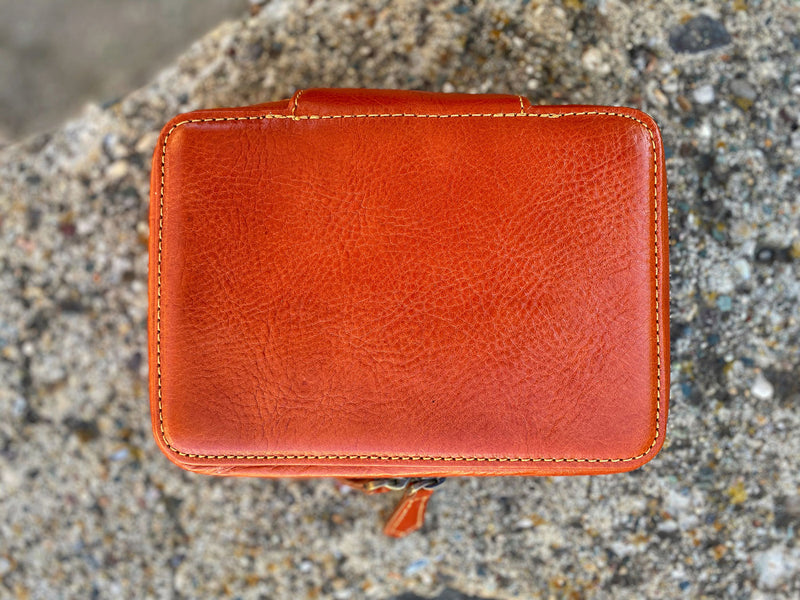 Natural Leather Orange Brown Zipper Watch Case for Four Watches
