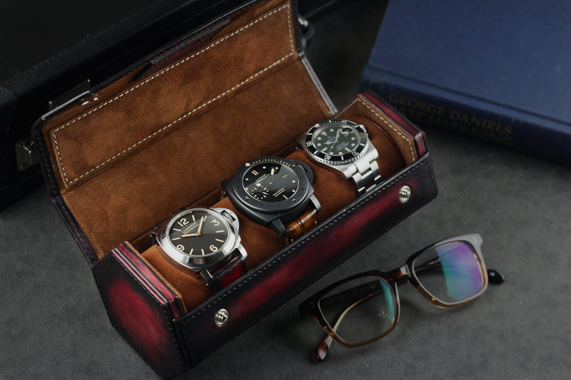 Hexagon Watch Case Patina Red for Three Watches (2614679797845)