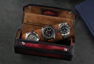 Hexagon Watch Roll - Patina Red for Three Watches