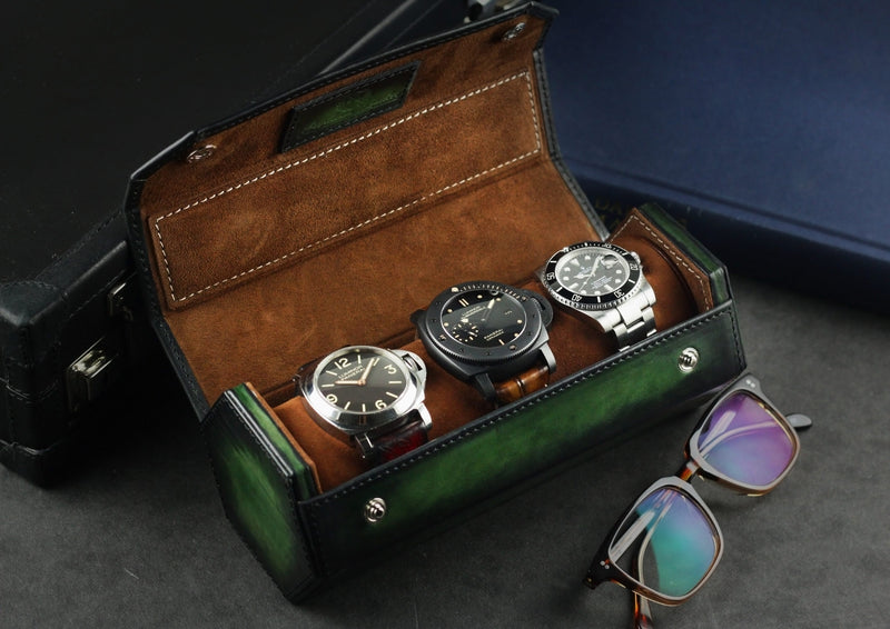 Hexagon Watch Roll - Patina Green for Three Watches (2614678126677)