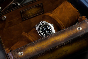 Hexagon Watch Roll - Scripto Patina Light Tan for Three Watches