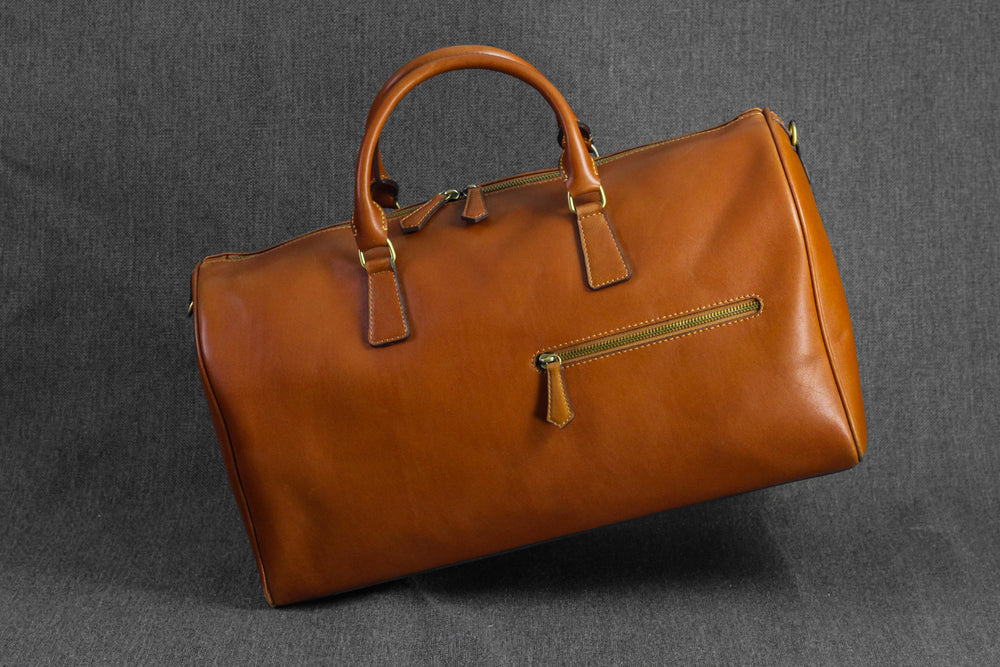 Leather Duffle Bag British Brown