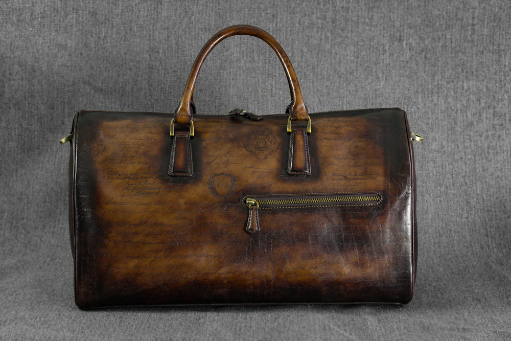 Bosphorus Leather Duffle Bag - Scripto Patina Brown