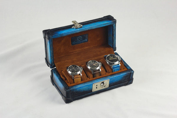 Petra Watch Case for Three Watches - Scripto Patina Sky Blue