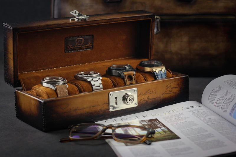 Petra Watch Case for Four Watches - Scripto Patina Light Tan